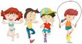 Дети в различных действиях — Cтоковый вектор