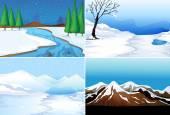 Winter scenes  — Stock Vector