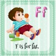 Flashcard letter F is for fat. — Stock Vector #73964303