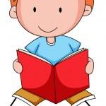 Boy reading a book — Stock Vector #73964351