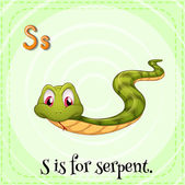Flashcard letter S is for serpent — Stock Vector