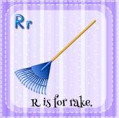 Flashcard letter R is for rake. — Stockvektor