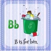 Flashcard letter B is for bin. — Stock Vector