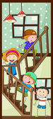 Children walking up the stairs — Stock Vector