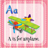 Flashcard letter A is for airplane — Stock Vector