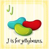 Flashcard letter J is for jellybeans — Stock Vector