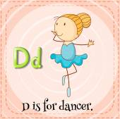 Flashcard letter D is for dancer. — Stock Vector