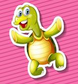 Happy turtle on pink background — Vetor de Stock