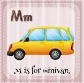 Flashcard letter M is for minivan — Stock Vector