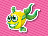 Yellow fish swimming — Vetor de Stock