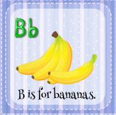 Flashcard letter B is for bananas. — Stock Vector