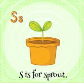 Flashcard letter S is for sprout. — Vecteur