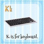 Flashcard bokstaven K är för tangentbord. — Stockvektor