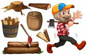 Lumber jack and wood — Stock Vector