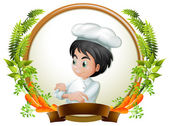 Chef and banner — Stock Vector