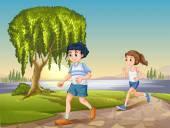 Couple jogging — Stock Vector