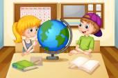 Children and globe — Stock Vector
