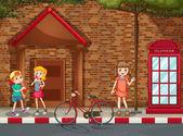 Children on street — Stock Vector