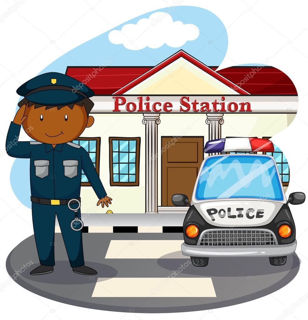 saludando frente comisar u00eda de polic u00eda vector de stock policeman clip art free police clipart