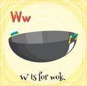 Alfabet W is voor wok — Stockvector