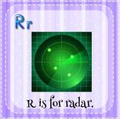 Alfabet R is voor radar — Stockvector