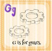 Cartão de memória letra G é para engrenagens — Vetor de Stock