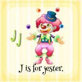 Flashcard J şakacı için harftir — Stok Vektör