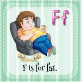 Flashcard letter F is for fat — Stock Vector
