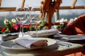 Served table on the veranda — Stock Photo