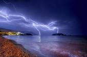 Thunderstorm over Adriatic sea coastline. — Stock Photo