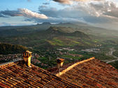 Sunrise over Italian hills — Foto Stock