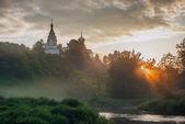 Sunrise in small Russian village — Stock Photo