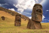 Rano raraku moai — Stock Photo