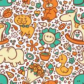 Funny baby pattern. — Vector de stock