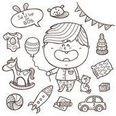 Baby boy toys icons set. — Stock Vector