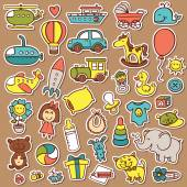 Funny baby toys stickers set. — Stock Vector