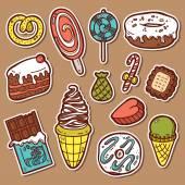 Sweets stickers set. — Vector de stock