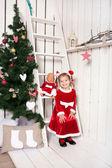 Little kid wearing as Santa Claus — Stock Photo