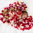 Black newborn baby in red heart. — Stock Photo #57841395