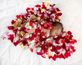 Black newborn baby in red heart.  — Zdjęcie stockowe
