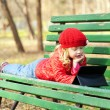 Kid with technology outdoors — Stock Photo #68257623