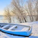 Blue boat near danube river — Stock Photo #64679029