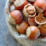 Filbert nut in burlap sack — Stock Photo #68945197