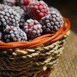 Frozen blackberries in basket — Stock Photo #70901569