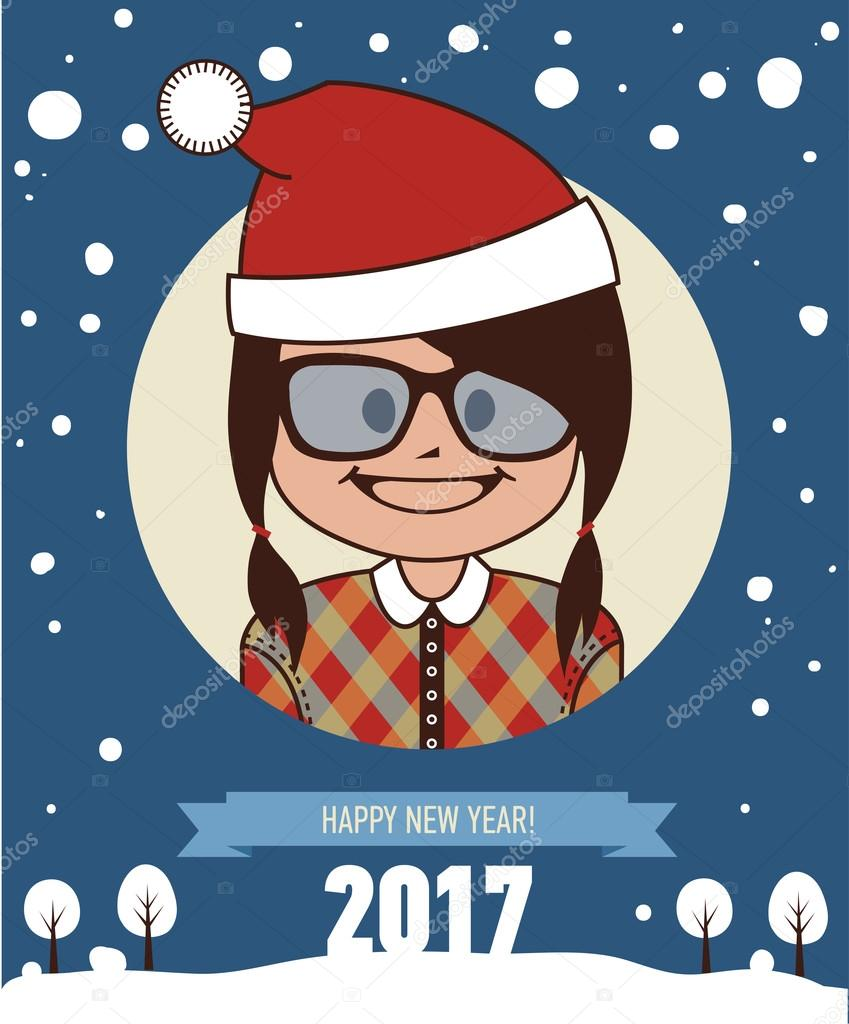 template of hipster holiday postcard new year 2017 card stock template of holiday postcard new year 2017 card happy hipster girl in santa clause hat vector illustration vector by natalypaint