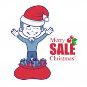 Promotional banner with Santa Claus boy and bag of gifts. — Stock Vector