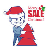 Promotional banner with Santa Claus and Christmas tree. — Stock Vector