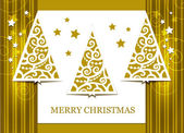 Gold greeting card with Christmas tree — Stock Vector