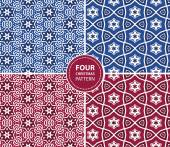 Set of four Christmas seamless patterns — Stock Vector