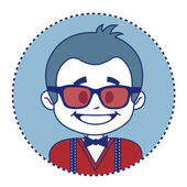 Fashionable and happy showman in sunglasses — Stock Vector